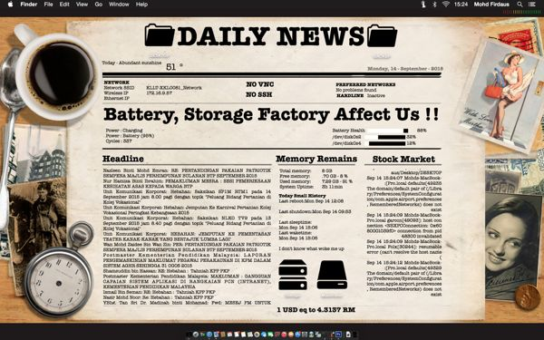 Newspaper rainmeter skin